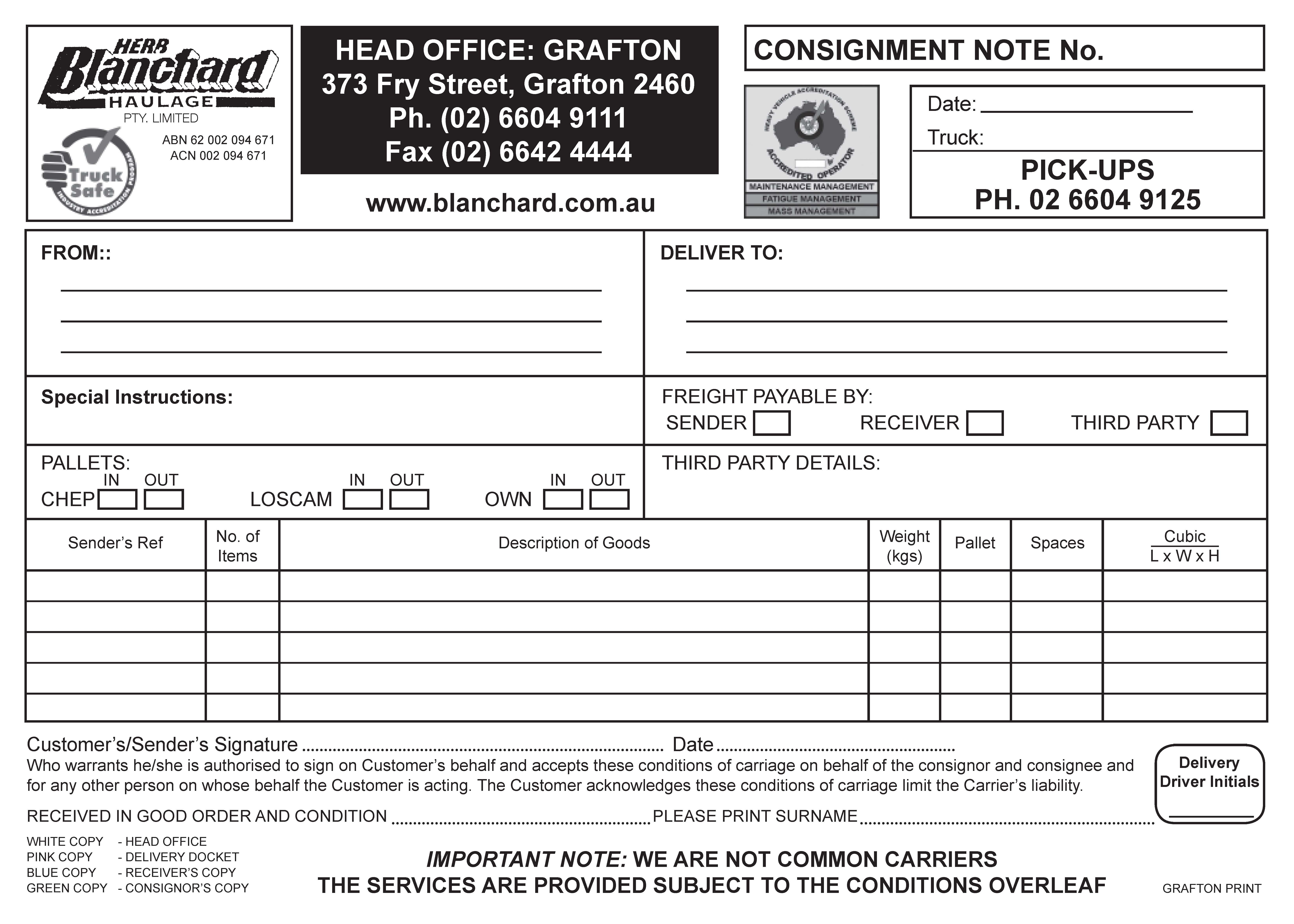 consignment note blanchard haulage. Black Bedroom Furniture Sets. Home Design Ideas